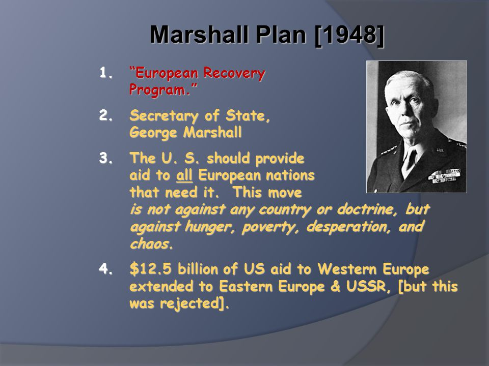 Marshall Plan [1948] European Recovery Program.